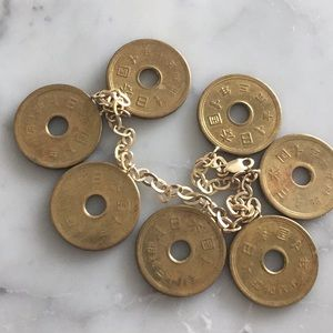 Jewelry - 10k Gold Bracelet- Brass chinese coin charms -